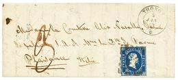27 1853 SARDAIGNE 1ère Emission 20c Effleuré En Haut Obl. ROMBI + THONON + Taxe 3 Sur Lettre Pour PLAISANCE. Rare Taxé.  - France