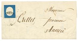 29 1855 SARDAIGNE 3é Emission 20c Marges énormes Obl. THONON Sur Lettre Avec Texte Pour ANNECY. TB. - France