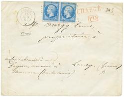 """31 """"PORT FRONTALIER En CHARGE"""" : 1861 Paire 20c(n°14) Obl. PC 4246 + T.15 THONON Sur Enveloppe CHARGEE Pour LANCY (GENEV - France"""