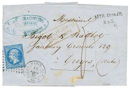 """143 """"H.S.3"""" : 1860 20c(n°14) + Taxe 4 + AFFR. INSUFF./ H.s.3 + PARIS S3 Sur Lettre. Signé J.F BRUN. TB. - France"""
