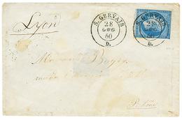 144 1860 20c(n°14) Pd Obl. Cachet Sarde S.GERVAIS Sur Enveloppe Pour LYON. RARE. TB. - France