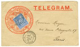 236 1880 15c Obl. MARSEILLE Sur Env. TELEGRAM Pour PARIS. Rare. Superbe. - 1876-1878 Sage (Type I)