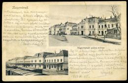 NAGYVÁRAD 1903. Pályaudvar, Régi Képeslap, Mozgóposta Bélyegzéssel - Hongrie