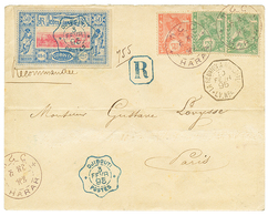 1162 1895 ETHIOPIA 1/4g(x2) + 1/2g Canc. HARAR + SOMALI COAST 50c Canc. DJIBOUTI On REGISTERED Envelope To FRANCE. Verso - Ethiopie