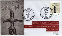 Italia 1994 Rimini Mostra Archeologica ANTICHE GENTI D'ITALIA Annullo FDC Busta Dedicata - Archeologia