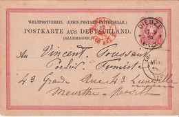 Carte Lettre  Dieuze Allemande 1879 Pour V Toussaint Poelier Fumiste Lunéville Tampon Dieuze - France