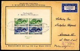 POLAND 1938 - PHILATELIC EXHIBITION - SHEET 5 - REGISTERED COVER - RARE - Full Sheets
