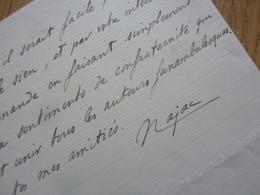 Raoul De NAJAC (1856-1919) MIME Pierrot. Maire PONT L'ABBE. Acteur PANTOMIME. AUTOGRAPHE - Autographs