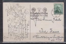Dt.Reich Seltener Werbe-o Kiel/1936 2.Nordmark-Treffen SA SS In Kiel Auf JUX-Geburtstagskarte EF 604 - Deutschland