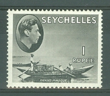 Seychelles: 1938/49   KGVI    SG146a     1R   Grey-black   [Chalk]    MH - Seychelles (...-1976)