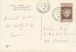 """N°668 Obl """" LA CHAPELLE ROUGEMONT TER. DE BELFORT 9/12/44 """" Sur CP > Toulon Var - Premier Jour - FDC Journée Timbre - 1921-1960: Moderne"""
