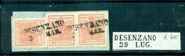 Lombadei Und Venetien, Wappenzeichnung Nr. 3, Auf Briefstück, Stempel Desenzano, Paar - Usati