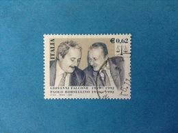 2002 ITALIA FRANCOBOLLO USATO STAMP USED - GIOVANNI FALCONE PAOLO BORSELLINO - - 6. 1946-.. República