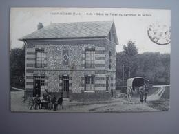 27520 THUIT HEBERT Café Tabac Gare 1923 CPA FP Compris - France