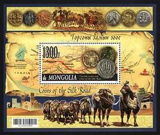 MONGOLIA 2017 Coins Of The Silk Road Map Camel Horse Miniature Souvenir Sheet Block MNH - Budismo