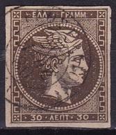 GREECE 1876 Large Hermes Head Athens Print 30 L Brown Thin Paper Vl. 59 F - 1861-86 Hermes, Groot