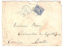 Lettre PARIS Ministère Des AFFAIRES ETRANGERES,Type Sage N° 90,15 C Bleu > Conservateur Hypothèques TULLE, Corrèze 1878 - 1876-1898 Sage (Type II)