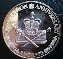 "Turks And Caicos Islands 20 CROWNS 1997 SILVER PROOF ""40th Anniversary Of Coronation"" Free Shipping Via Registered - Turks En Caicoseilanden"