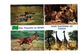 Cpm - République Du BENIN - Parc National De PORGA - Lionne Girafe Hippopotame - Hippopotames