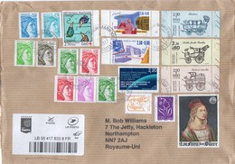 FRANCE Cover To UK With Variety Of Stamps From Late 1970s To 1990s Posted 13.04.2017 - France