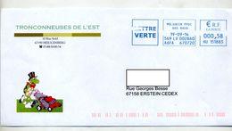 Lettre Cachet Machine Molsheim Entete Tronçonneuse Tondeuse Heilenberg Theme Tortue - Storia Postale