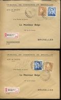 4 Enveloppes Recommandée Du Tribunal De Commerce  Affranchies 4F Lunettes Et 3F Poortman - Belgique