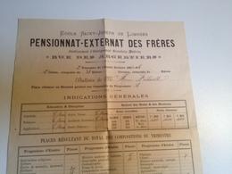 LIMOGES, Pensionnat,  Ecole St Joseph, Bulletin Scolaire , 2eme Trimestre, 1893 - Diplômes & Bulletins Scolaires