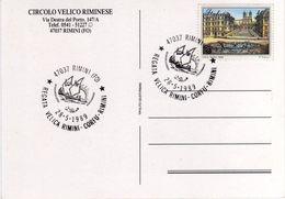 Italia 1989 Rimini Regata Velica Rimini Corfù Rimini Annullo Cartolina Dedicata - Sailing