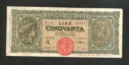 ITALIA - BANCA D' ITALIA - 50 Lire Italia Turrita (1944) LUOGOTENENZA - [ 1] …-1946 : Kingdom
