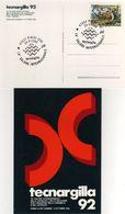 Italia 1992 Rimini Fiera TECNARGILLA 14° Salone Internaz. Macchine Ceramica Laterizio Annullo Cartolina Dedicata - Fabbriche E Imprese