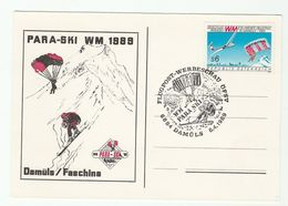 1989 Damuls WORLD CUP PARACHUTE SKIING EVENT COVER Card Austria Parachuting Paragliding Paraski  Para Ski Sport Stamps - Skiing