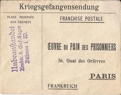 Env.  De  Prisonnier  De  Guerre  Camp  De  DÜLMEN  ( Allemagne )  Envoi  à  PARIS  Oeuvre Du Pain Des Prisonniers - Guerre De 1914-18