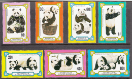 Mongolia 1977 MNH Scott #989-#995 Set Of 7 Giant Pandas - Mongolie
