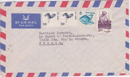 INDIA 1989 - CHOGLAMSAR -   4 TIMBRES  POISSON OISEAU  - BY AIR MAIL PAR AVION - India