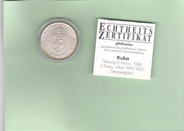 Münze Kuba, 5 Pesos, 1984, Festung El Morro, Silber 999/1000, Stempelglanz - Kuba