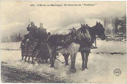 Attelage – L'Hiver En Montagne –  Un Courrier En Traineau  ( AN ) - Chevaux