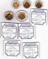 Münzen BRD, 1, 2, 5 10, 50 Pfennig,  24 Karat Vergoldet, In Kapsel - [ 7] 1949-…: BRD