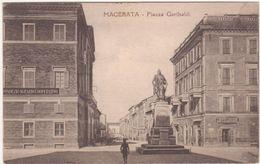 A158 MACERATA PIAZZA GARIBALDI ANIMATA 1925 - Macerata