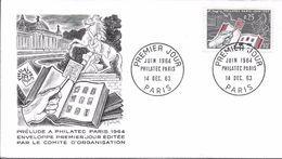 1403 - JUIN 1964 - PHILATEC PARIS - 14/12/63 - FDC