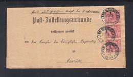 Dt. Reich Post-Zustellungsurkunde Leer 1892 - Allemagne