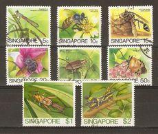 Singapour - 1985 - Insectes - Petit Lot De 8° - Cachets Ronds - Abeille - Criquet - Guêpe - Scarabée - Alla Rinfusa (max 999 Francobolli)