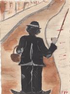 Format Cpa 2 Scans Dipinta A Mano- Peinte A La Main   Charlie Chaplin Signée  E VAN PLOEG - Illustrateurs & Photographes