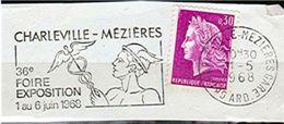 """FLAMME SUR FRAGMENT """" 36° FOIRE EXPOSITION 1968 CHARLEVILLE MEZIERE """" MÉDECINE CADUCÉE CASQUE _F75 - Marcophilie (Lettres)"""