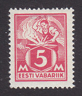 Estonia, Scott #70, Mint Hinged, Blacksmith, Issued 1922 - Estland