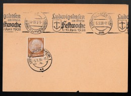 DR Postkarte Sonderstempel 1938 Ludwigshafen Festwoche K1349 - Poststempel - Freistempel