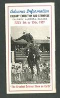 Canadá. AB - Calgary. *Calgary Exhibition And Stampede. July 8th To 13th, 1957* - Folletos Turísticos