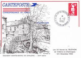 Les 30 Ans Du Téléthon Chalons Sur Marne (Marne) Sur Entier Repiqué Dessiné Par Roland Irolla - Postmark Collection (Covers)