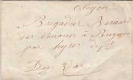 Lettre Sans Marque Postale De ANNOT ( Castellane ) Basses Alpes 1/6/1848 Pour Brégançon ( Bormes Les Mimosas ) Var - Postmark Collection (Covers)
