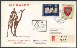 1964 Liechtenstein, Primo Volo First Fly Erster Jet-Flug Air Maroc Zurigo - Casablanca, Timbro Di Arrivo - Liechtenstein