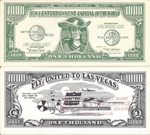 $1000 Vegas Vic Las Vegas Loot Bill - Fly United To Las Vegas - United Airlines / Copyright 1954 - Casino Cards